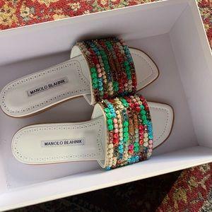 Manolo Blahnik Beaded Sandal Slides